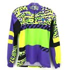 Seb Mens Cycling Jersey Purple Green Color Block 1 4 Zip Vintage Italy Made XL