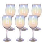 Hand Blown Luster Wine Glasses Wedding Party Set of 6 Cap 19 Oz