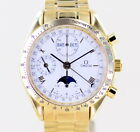 Omega Speedmaster Automatic Day-Date Chronograph white Dial 18K Gold Triple Date