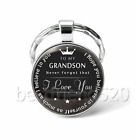To My Grandson Photo Cabochon Glass Tibet Silver Keychain Keyring Pendant