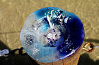 FUSED GLASS ART FLUTED BLUE AQUAMARNE GLASS BOWL POSEIDON COLLECTION HAS 190