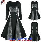 Women Sequin A-Lined Retro Dress Ladies Long Sleeve Tunic Dresses Goth Party US