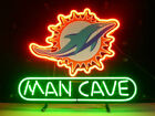 New Man Cave Miami Dolphins Neon Light Sign 14x10 Beer Gift Bar Real Glass