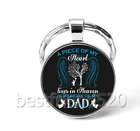 Memory of My Dad Photo Cabochon Glass Tibet Silver Keychain KeyringDT47