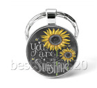 You Are My Sunshine Photo Cabochon Glass Tibet Silver Keychain Keyring