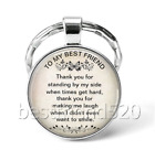 To My Best Friend Photo Cabochon Glass Tibet Silver Keychain Keyring