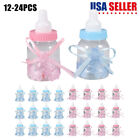 24 Fillable Baby Shower Candy Bottle Favors Blue Pink Party Decorations Girl Boy