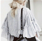 NWT Target Who What Wear Tier ruffled blue striped blouse top shirt Small S