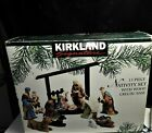 Kirkland 13 Piece Porcelain Nativity Set with Wood Creche Complete Christmas