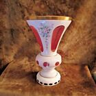 Vintage Bohemian Czech Cased Glass White Overlay Cut to Pink Vase NICE
