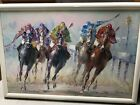 large oil on canvas abstract race horse  jockeys painting signed Veccio 3x2