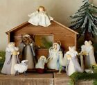 New Pottery Barn Kids Felt Nativity Set 10 pc Holiday Collection Wood Stable