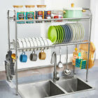 Large Dish Drying Rack Cup Drainer 2 Tier Strainer Holder Tray Stainless Steel