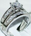 2 CT Princess cut Engagement Ring 2 Piece Wedding Bridal Band Set 14k White Gold