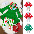 US Christmas Newborn Baby Girl Outfit Clothes T shirt Tops Dress Leggings Pants