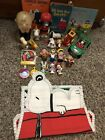 Vintage Charlie Brown Peanuts Figure Toy Lot Snoopy Books Candle Train