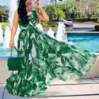 Women Lady Summer Party Long Dress Holiday V-Neck Chiffon Maxi Dresses With Belt