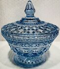 """""""Vintage Anchor Hocking Light Blue Wexford Pedestal Footed Covered Candy Dish"""