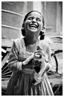 Vintage Photo Print of a Joyful Child Little Girl Happy to Have a Kitten Cat
