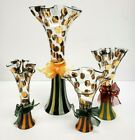 Set of 4 MACKENZIE CHILDS Circus Clown Glass Flower Bud Vases tallest is 11