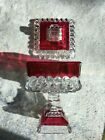 Vintage 1950s Indiana Glass Ruby Flash Square Compote with Pedestal Candy Dish
