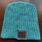 Love Your Melon Beanie NEW NEVER WORN. One Size SEA BREEZE. Brown Leather Patch
