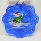 Fenton Hand Painted Signed Blue Glass Christmas Ornament Snowman Frolic