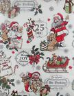 Santas Merry Christmas Collage Vinyl Flannel Back Tablecloth Various Sizes
