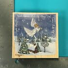 Stamps Happen Guardian Angel 80177 Christmas Snow Wood Mounted Rubber Stamp