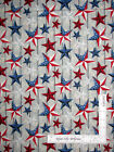 Patriotic USA Red Blue Stars Wood Patterned Cotton Fabric CP48180 By The Yard
