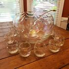 West Virginia Glass Iridescent Luster Wavy Punch Bowl Set Cups Ladle free ship