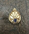 Vintage 14K Yellow Gold Leaf Tanzanite Slide Slider Charm