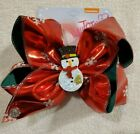 JoJo Siwa Hair Bow Christmas Holiday Red w White Snowflakes and a Snowman Center