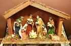 Antique Christmas Religious Nativity Scene in a Wooden House Bose Figurines