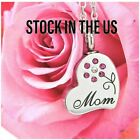 Mom Heart Cremation Urn Necklace Pink Flower Memorial Jewelry Ashes Keepsake