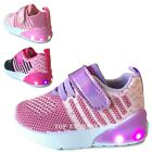 NEW Baby Sneakers Knit Mesh Light Up Shoes Girls Infant Toddler Size 4 to 9