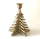 Vintage Solid Brass Christmas Tree Candlestick Holder Tiered Taper Holiday Decor