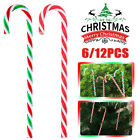 6 12Pcs Christmas House Plastic Candy Cane Ornaments Red and Green Striped US