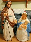 36 TPI JOSEPH MARY JESUS NATIVITY CHRISTMAS BLOW MOLD LIGHT UP YARD DECOR VTG