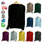 Winter Womens Cashmere Black Sweater Loose Pullover Round Neck Knit Jumpers Top