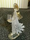 9 In Vintage Murano Venetian Art Glass Angel White  Gold Flaked