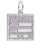 Sterling Silver Charms for Bracelets  Birth Certificate Charm  Style 4763  RE