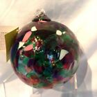 Kitras Glass Calico Friendship Ball Garden with box Hand Blown 5 1 2 3495