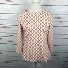 J MCLAUGHLIN Top Catalina Cloth Orange Red White Geo Print Stretch Women sz L