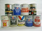 Lot of 9 Vintage 1 Quart Oil Cans Mobil Valvoline Aero Shell Sunoco Texaco Amoco