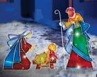 3 Pcs Outdoor Lighted Christmas Nativity Scene Holiday Decor Mosaic Display NIB