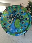 Large Murano Art Glass Decorative Plate Hand Painted Peacock Design