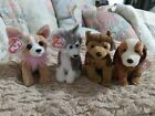4 BEANIE BABIES LOT DOGS  WITH TAGS USED Pico*Holmes*Courage*Sledder