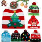 Christmas LED Light Up Knitted Hat Beanie Cap Snowman Xmas Gift For Adults Kids