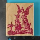 Guardian Angel Over Children Sonlight Impressions Wood Mounted Rubber Stamp